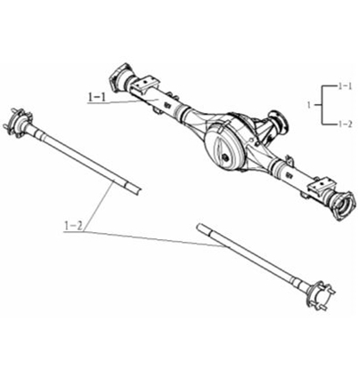 Picture of Rear Axle Assembly (Telephone Ordering Only) Big Cabin Pickup