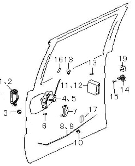 Picture of Right Side Sliding Door  Latch/Lock Assembly