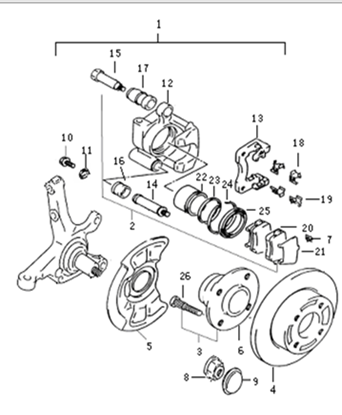Picture of Left Front Brake Complete Assembly ABS